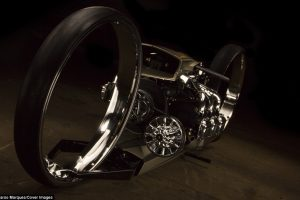 Stunning Ultra Sleek TMC Dumont Motorcycle has 36 Inch Hubless wheels