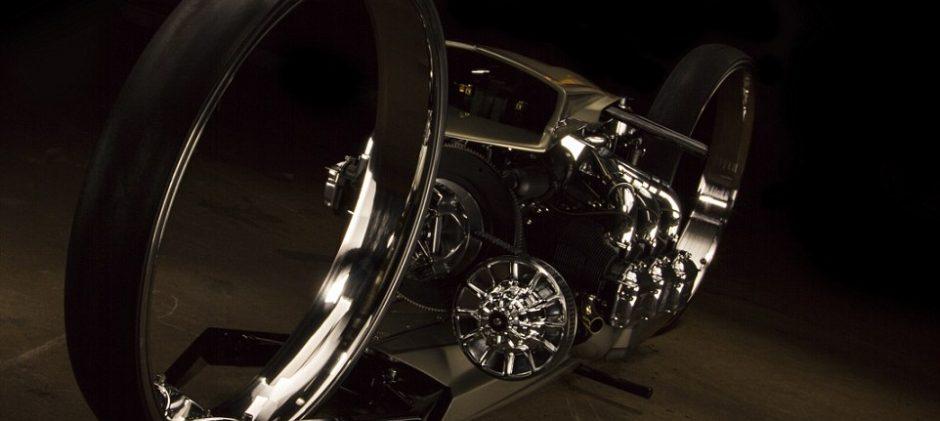 Stunning Ultra Sleek TMC Dumont Motorcycle has 36 Inch Hubless wheels